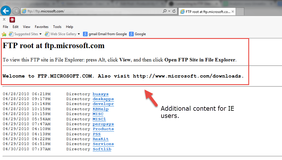 FTP with IE and user agent info