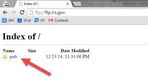 FTP showing public folder