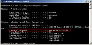 DOS IPCONFIG command showing MAC addresses