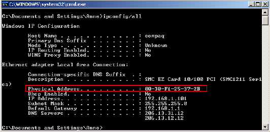 DOS IPCONFIG command showing MAC addresses