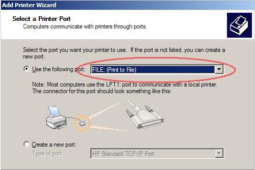 Print to File printer option
