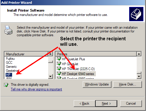 Adding recipient printer software