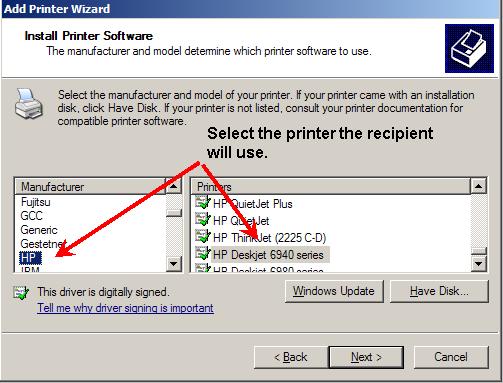 Adding recipient printer software