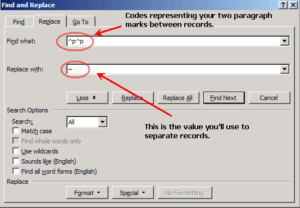 Word Find and Replace dialog