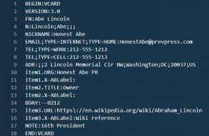 Example of .vcf file in VSCODE.