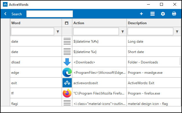 ActiveWords table showing Word, Action & Descriptions.