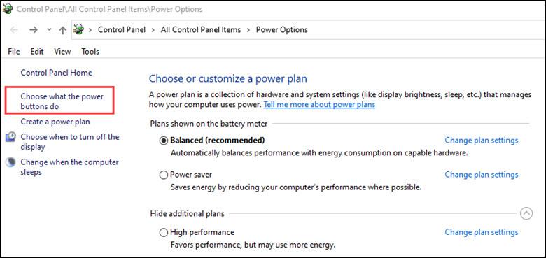 Additional Windows 10 power options dialog.