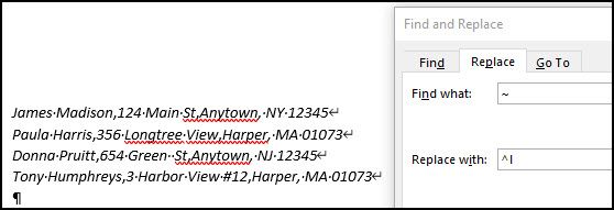 List of addresses with one record per line.
