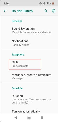 Do Not Disturb panel showing calls allowed from contacts.
