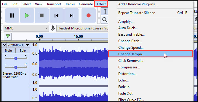 Audacity Effects menu with Change tempo selected.