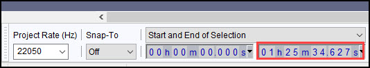Audacity indicator of time amount of 1h25m.