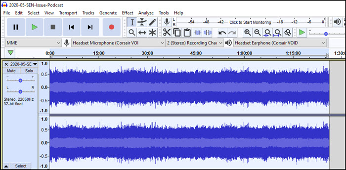 Audacity with open files for left and right channels.