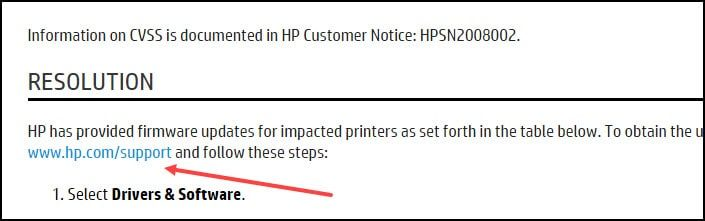 HP bad support link