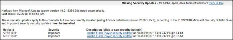 BelArc listing of missing security updates.