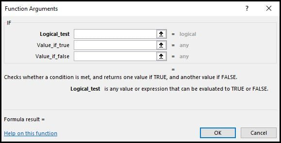 blank dialog for IF function.