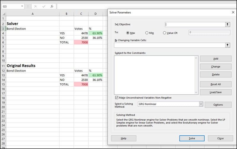 Blank Solver dialog overlaid on spreadsheet.
