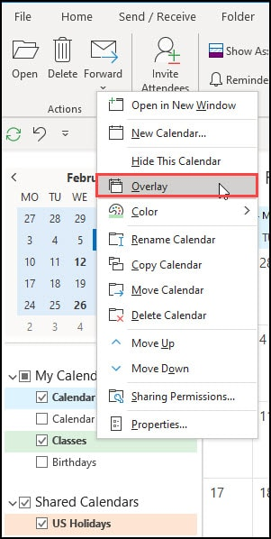 Overlay function in Outlook menu.