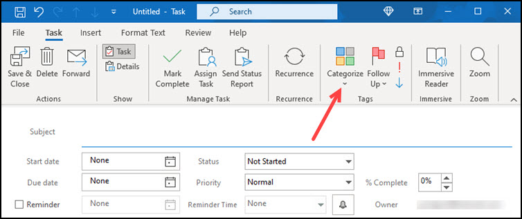 Categorize button on new task.