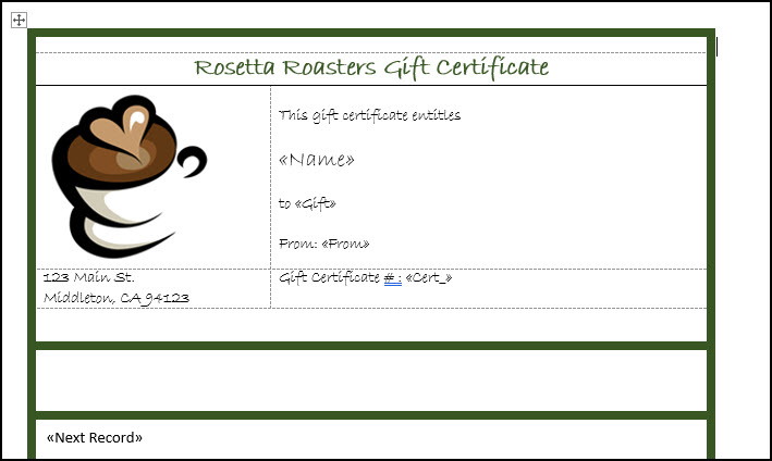 Gift certificate with merge codes.