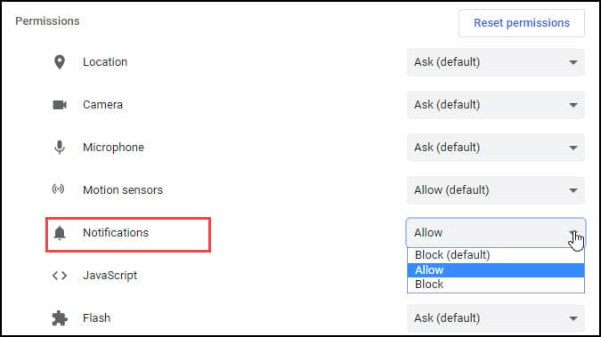 Drop-down menu for changing notifications.