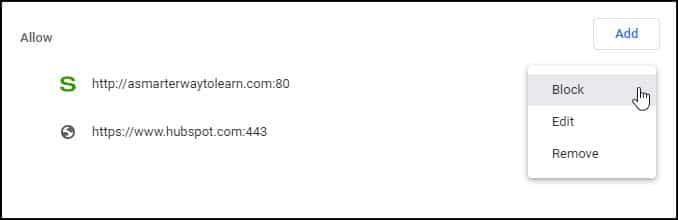 Drop-down menu showing site options.