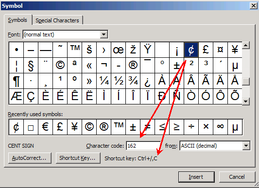 Inserting Special Character Codes – Degrees in Microsoft Word