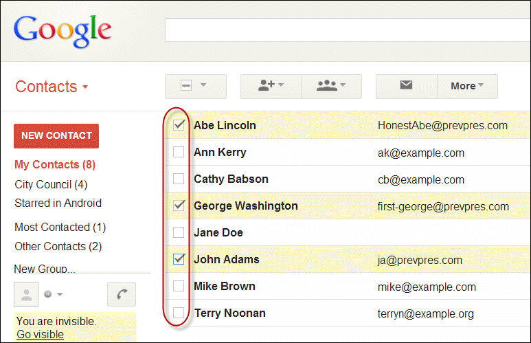 Selecting Google contacts for group