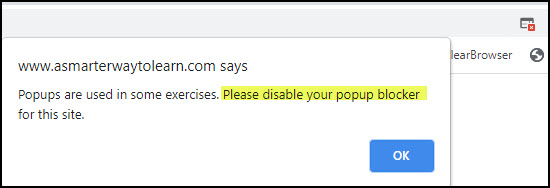 Chrome blocked pop-up warning dialog.