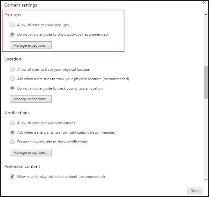 Chrome radio button settings for popups
