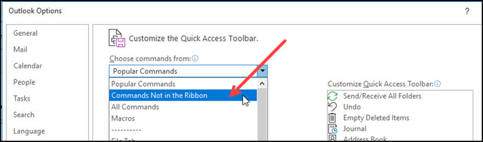 Outlook Options dial with Commands Not in Ribbon highlighted.