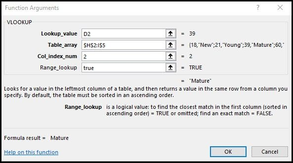 Completed vlookup function arguments dialog.