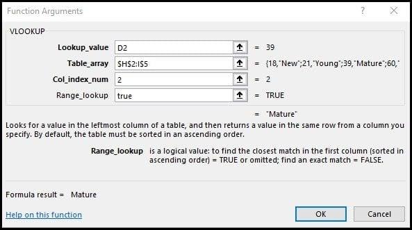 Completed vlookup function arguments dialog.