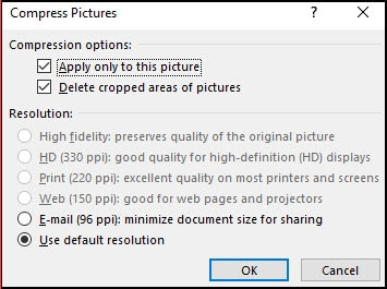 The Compress Pictures dialog box.