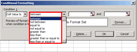 Excel Conditional Formatting cell criteria dialog