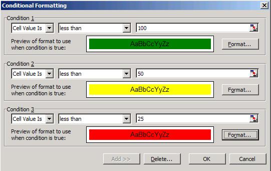 Excel Conditional Formatting - 3 criteria max