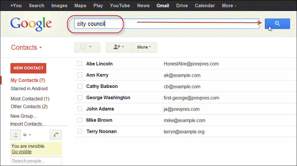 searching Google contact record
