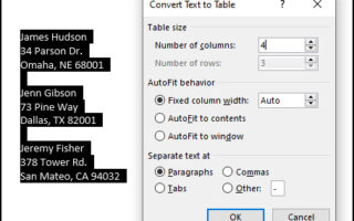 Convert Word Table to Excel