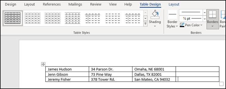 Converted addresses in Word table.
