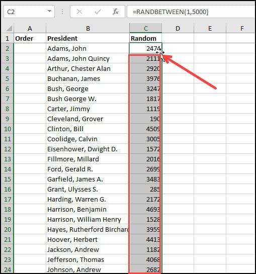Copying the RANDBETWEEN formula down column C.