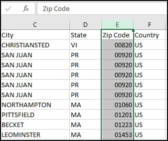 Excel shows full zip code.