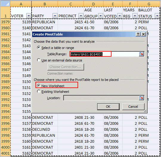 create pivot table dialog