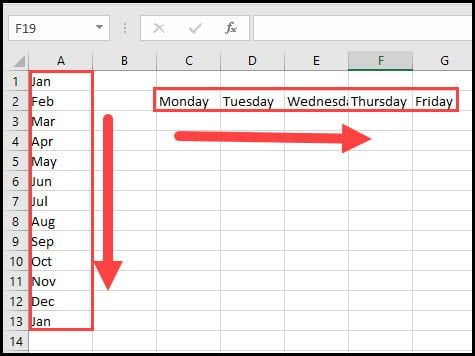 default Excel custom list examples