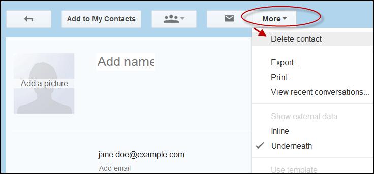 delete Google contact record