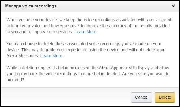 delete voice recordings