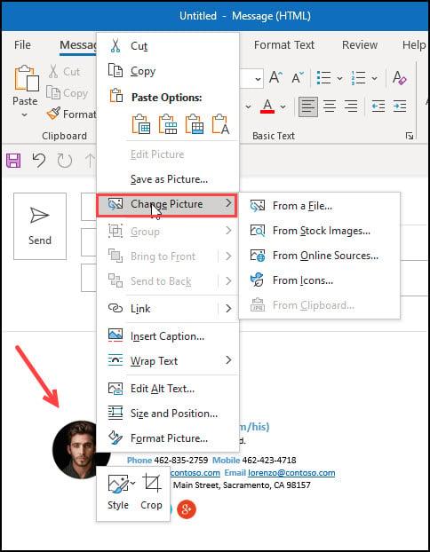 Context menu after clicking on sample image.