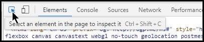 Elemt inspector button