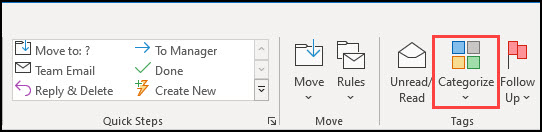 Toolbar showing Categorize button for email.s