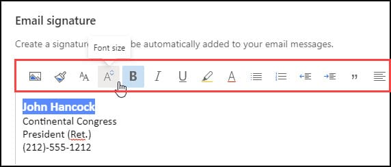 Email signature toolbar menu.