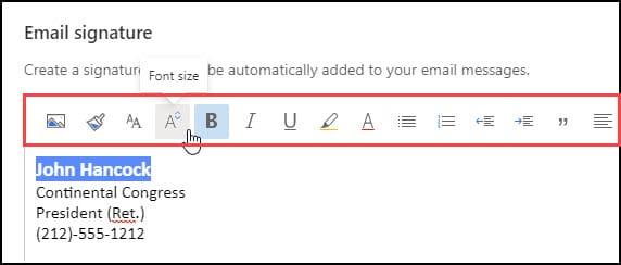 Email signature toolbar menu.