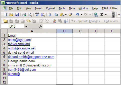 Excel sheet with email addresses